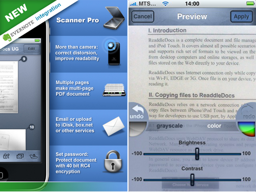Scanner Pro Updated With Evernote Integration