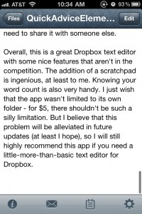 Elements - Dropbox Powered Text Editor by Second Gear screenshot